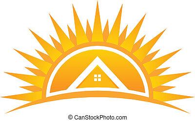 logotipo, vetorial, pôr do sol, casa
