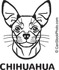 logotipo, vetorial, pretas, chihuahua, ícone