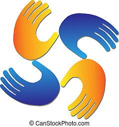 logotipo, vetorial, proteção, mãos