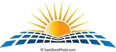 logotipo, vetorial, solar, energu, ilustração