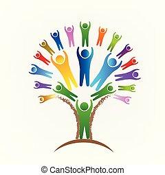 logotipo, vetorial, trabalho equipe, árvore, pessoas
