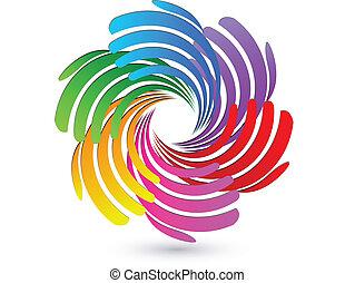 logotipo, vetorial, trabalho equipe, mãos