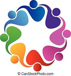 logotipo, vetorial, trabalho equipe, pessoas