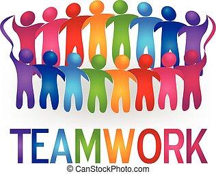 logotipo, vetorial, trabalho equipe, pessoas, reunião