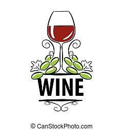 logotipo, vetorial, uvas vinho, óculos