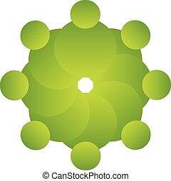 logotipo, vetorial, verde, pessoas, trabalho equipe