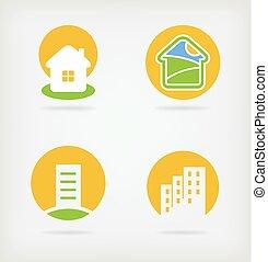 logotipo, vettore, 4, casa
