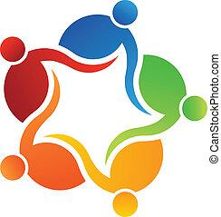 logotipo, vettore, 5 persone, squadra