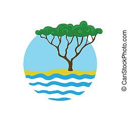 logotipo, vettore, albero, acqua, illustrazione