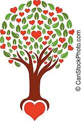 logotipo, vettore, albero, cuori, amare