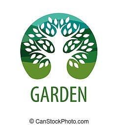 logotipo, vettore, albero, giardino, rotondo