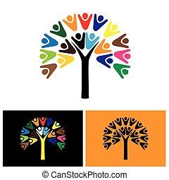 logotipo, vettore, albero, icona, persone