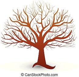 logotipo, vettore, albero, mette foglie, senza