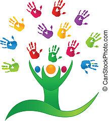 logotipo, vettore, albero, persone, mani