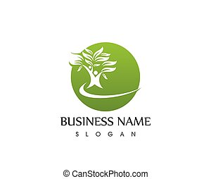 logotipo, vettore, albero, sagoma, persone