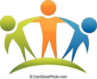 logotipo, vettore, amici abbracciando, squadra