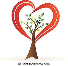 logotipo, vettore, amore, albero, cuore