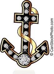 logotipo, vettore, ancorare, oro