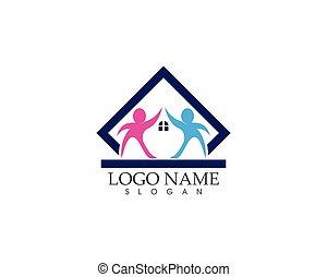 logotipo, vettore, assistenza sanitaria, famiglia