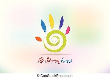 logotipo, vettore, bambini, colorito, mano