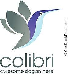 logotipo, vettore, colibrì