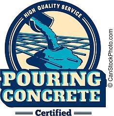 logotipo, vettore, concreto, colatura