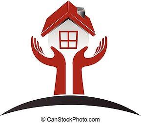 logotipo, vettore, cura, casa