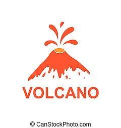 logotipo, vettore, eruzione, vulcano