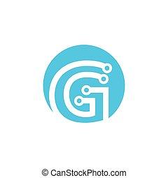 logotipo, vettore, g, lettera