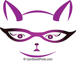 logotipo, vettore, gattino, occhiali, faccia