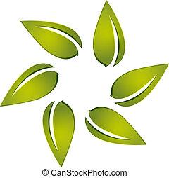 logotipo, vettore, intorno, mette foglie