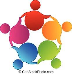 logotipo, vettore, lavoro squadra, affari