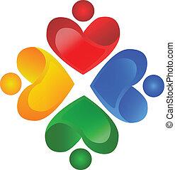 logotipo, vettore, lavoro squadra, carità