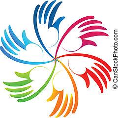logotipo, vettore, lavoro squadra, colorito, mani