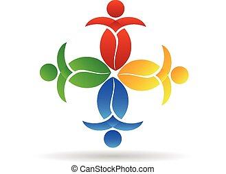 logotipo, vettore, lavoro squadra, mette foglie, natura