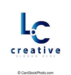 logotipo, vettore, lc, lettera, iniziale