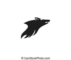 logotipo, vettore, lupo