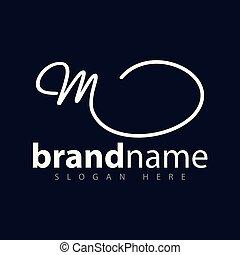 logotipo, vettore, m, lettera, iniziale