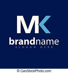 logotipo, vettore, mk, lettera, iniziale