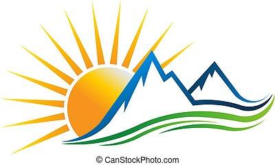 logotipo, vettore, montagne, illustrazione, sole