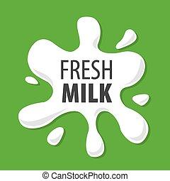 logotipo, vettore, naturale, schizzi, latte