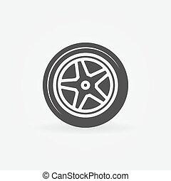 logotipo, vettore, o, pneumatico, icona
