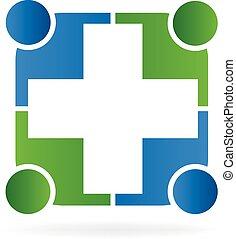 logotipo, vettore, persone, cura