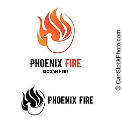 logotipo, vettore, phoenix, sagoma