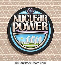 logotipo, vettore, potere, nucleare