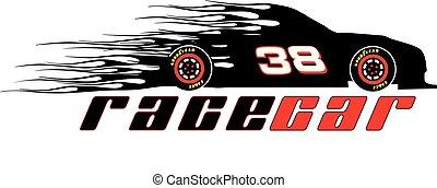 logotipo, vettore, racecar, fiammeggiante, sagoma