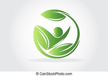 logotipo, vettore, salute, natura