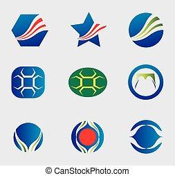 logotipo, vettore, set, icone