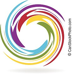 logotipo, vettore, spirale, onde