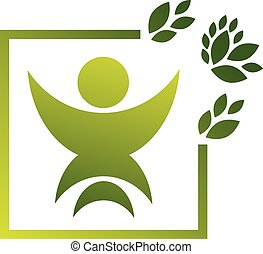 logotipo, vettore, verde, umano, risparmiare